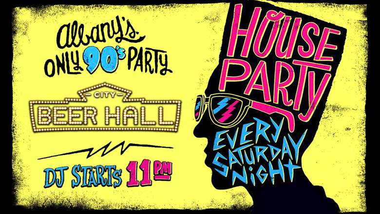 poster advertising a house party every saturday night