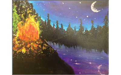 Fire on the Lake Painting Example