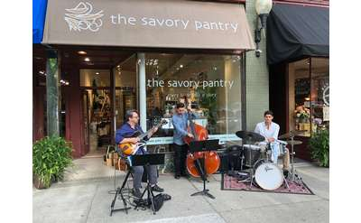 musicians outside savory pantry
