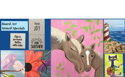 Open Art Studio June Canvas Painting Special $14 / Board Art Special $22
