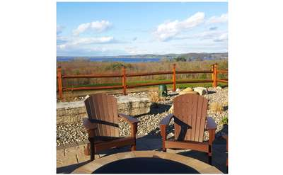 Adirondack chairs on deck