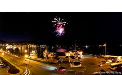 fireworks over lake george at night