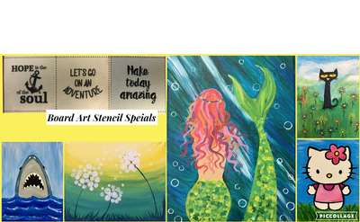 Open Art Studio July Canvas Painting Special $14 / Board Art Special $22