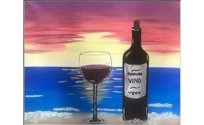 Wine Sunset Painting Example