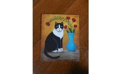 Folk Art Cat Painting Photo