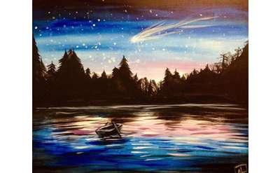 Night on the Lake Painting Example