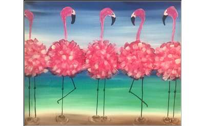 Fluffy Flamingos Painting Example