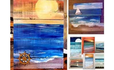 Wood Panel Ocean Scenes