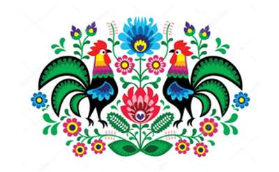 traditional Polish cut out roosters and flowers
