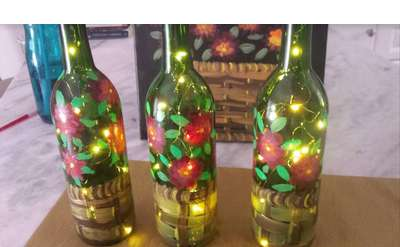 Lit WIne Bottle Design MUMS in Basket