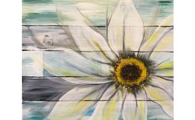 Rustic Daisy on Wood Shiplap!