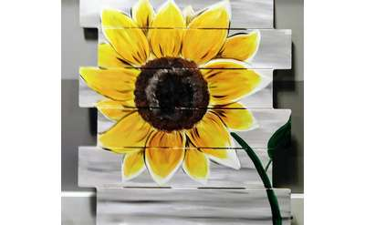 Sunny Sunflower on Wood Ship Lap!