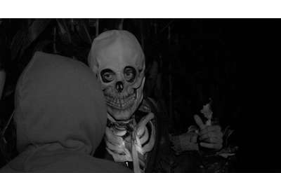 creepy skeleton, black and white photo