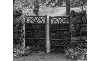 black and white image of gates