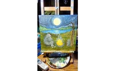 Beth Knapp Starry Night with Mama Bear Painting