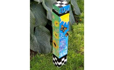 3 foot square pole deocrated with acrylic paint on all 4 sides