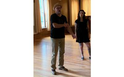 Jason Fenton giving a dance lesson