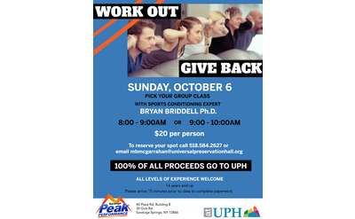 event flyer for UPH Benefit with Peak Performance