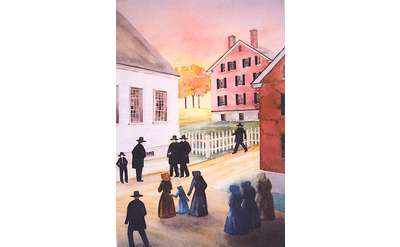 Watervliet Shaker Meeting House site, a painting by Libby Lee.