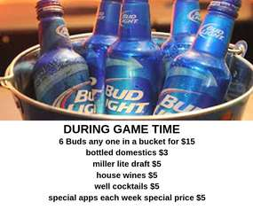 Drink and food specials during the games
