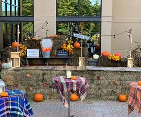 patio area decorated for fall