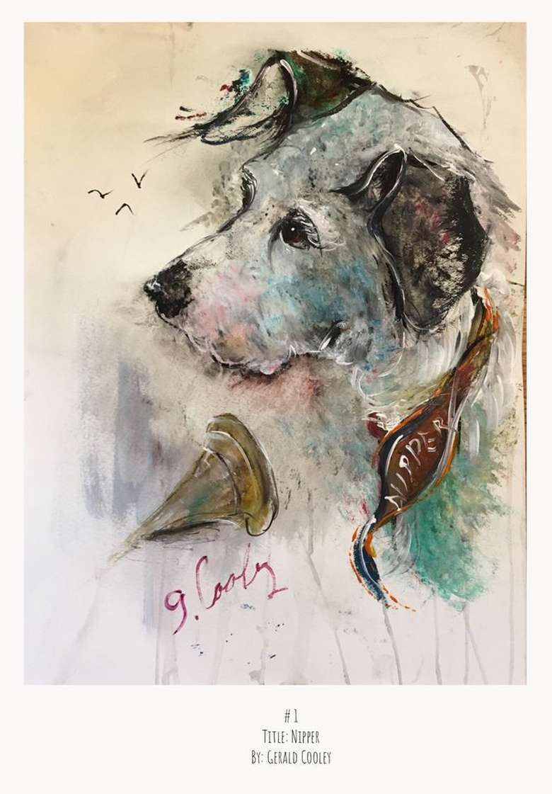 painting of a white dog with brown ears