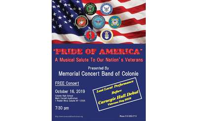 Memorial Concert Band of Colonie Concert Flyer October 16, 2019 @ Colonie High School 7:30 pm
