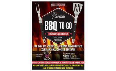 BBQ to go poster with event information