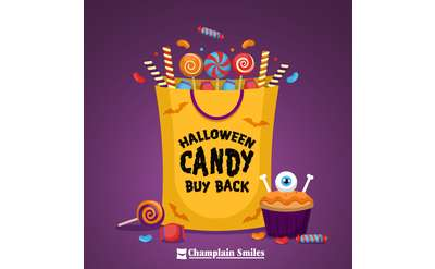 Cartoon image of candy spilling out of a bag.
