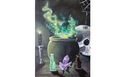 A steaming cauldren, skull and black candle