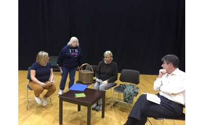 Photo of the Cast of The Uninvited in rehearsal