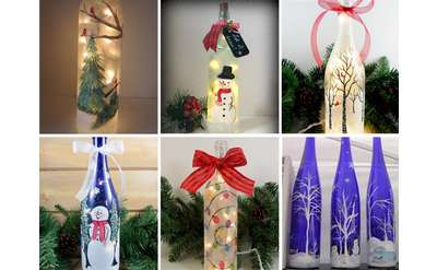 Six different wine bottle designs. Trees, snowmen, holiday lights.