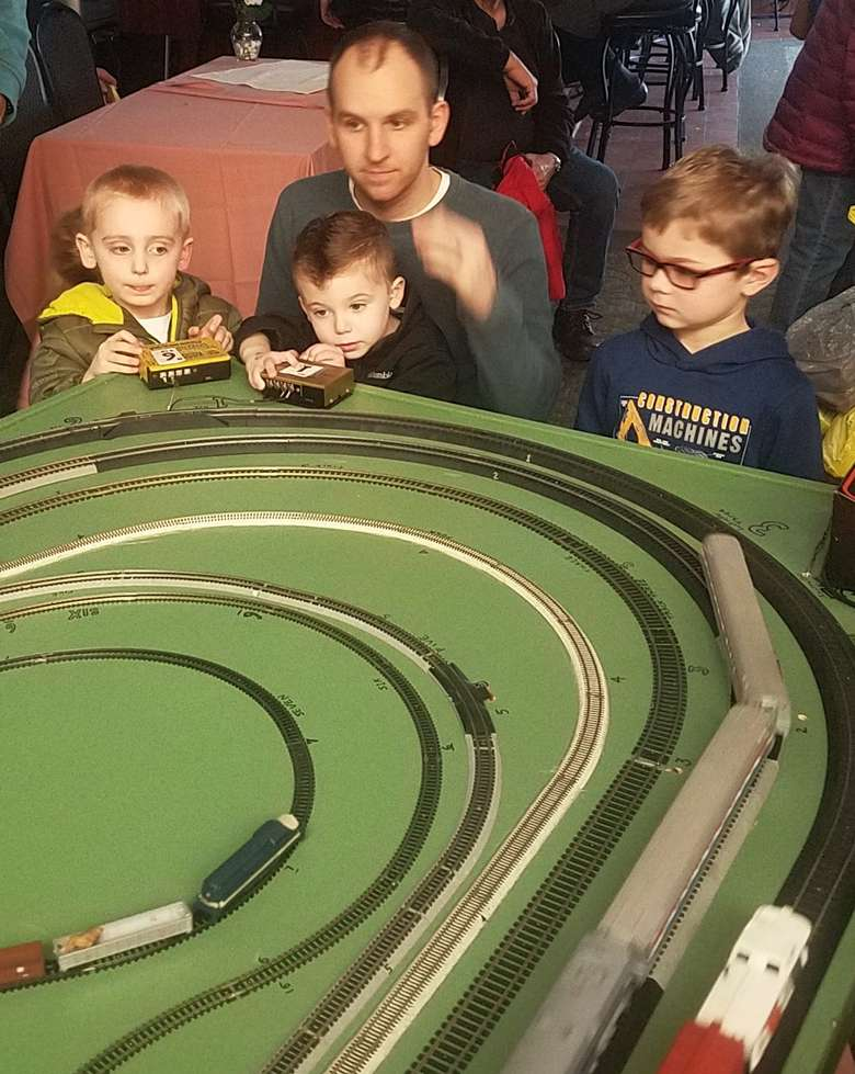 Kids Watching Train Set