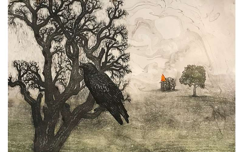 T. Klacsmann_Mazurka in Gray-Crow and House_Mixed Media_24x36