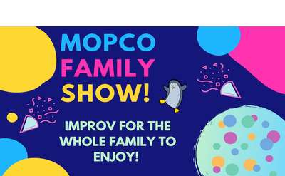a fun-loving penguin celebrates the Mopco Family Show