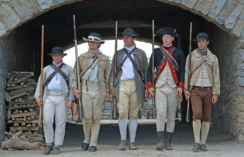 Soldiers portraying the American Army in 1776 as part of Independence Day weekend at Fort Ticonderoga July 3-5, 2020.