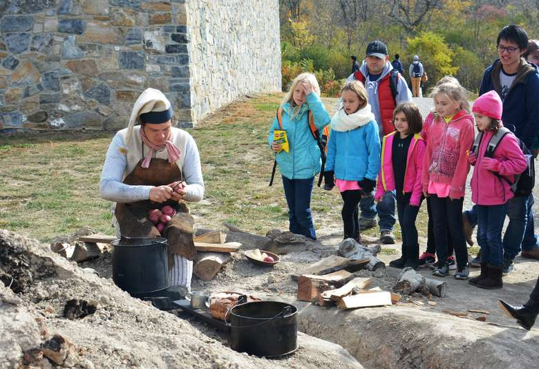 Girl Scouts learning about historic trades at Fort Ticonderoga as part of the annual Girl Scout Day, hosted on October 10, 2020.
