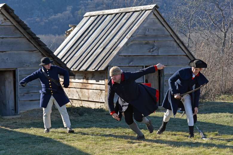 soldiers erupting in a riot as part of the living history event RIOT: Yankees versus Buckskins presented on December 12, 2020.