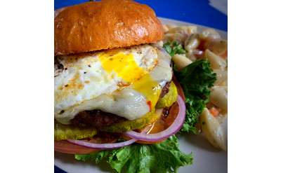A look at our burger.... They are huge and Delicious