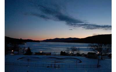 Winter sunset over Lake George
