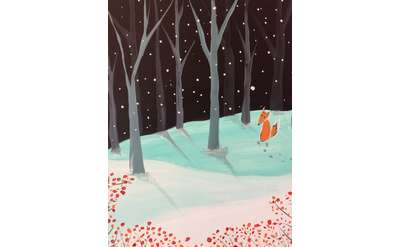 night sky with sillouetted gray and black trees lining the hills. The snow covered ground is filled with aqua colored shadows and a little red fox is sitting quietly in the snow.