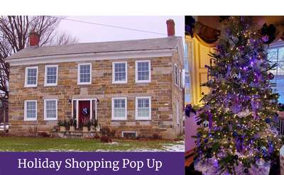 Lavenlair Farm Stone Farmhouse and Lavender Christmas Tree
