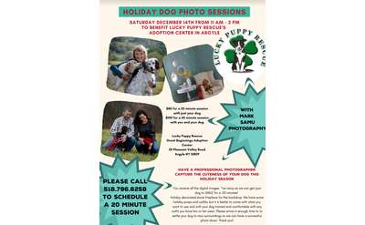 Holiday pet photos for Lucky Puppy Rescue 12/14/19 flyer