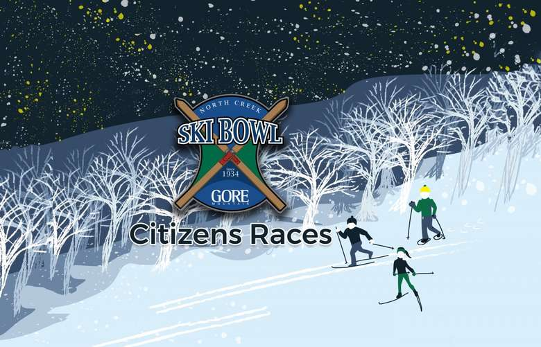 illustration of three people skiing and snowshoeing with ski bowl logo