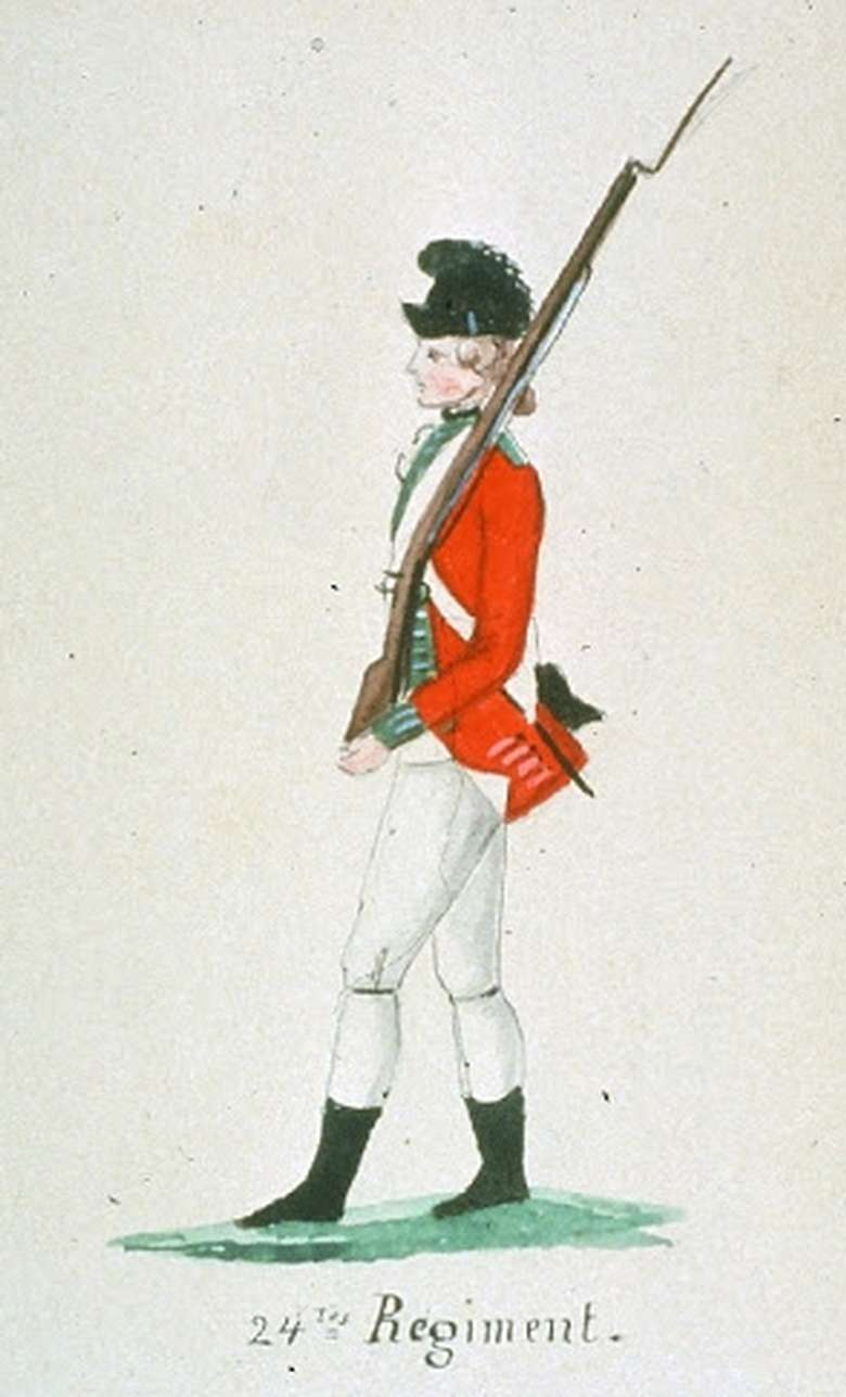 A drawing of a British soldier from the 24th Regiment.