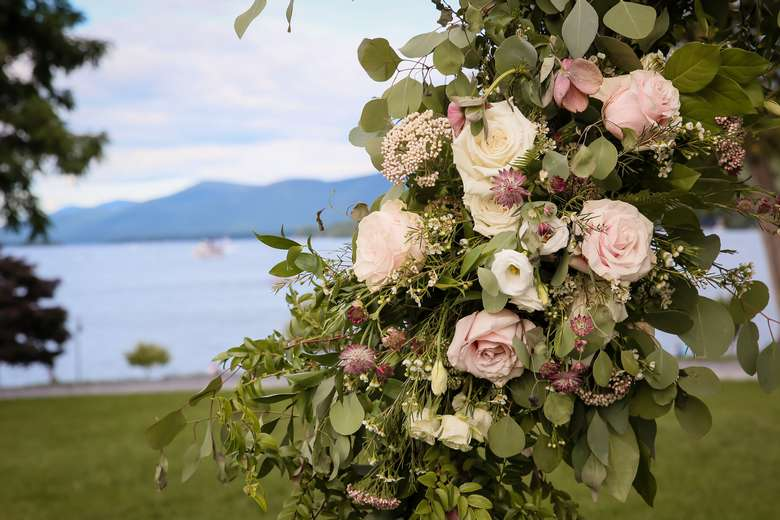 Rose Arch in front of Lake George and the Adirondack Mountains in the background