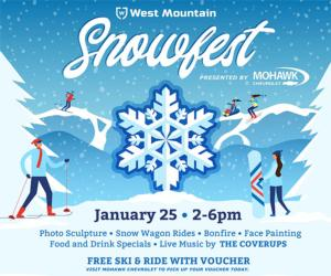 poster with date time and details for snowfest