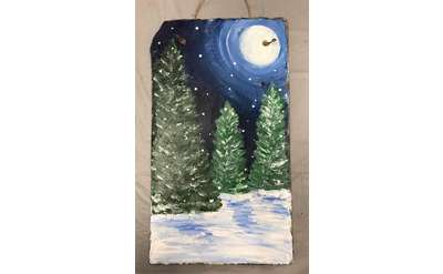 Winter Trees Slate Paint & Sip