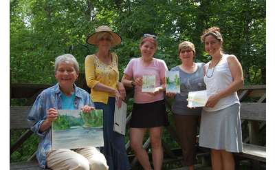 Watercolor workshop participants with artist France Gaffney