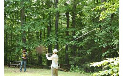 Practice casting during Introduction to Fly Fishing